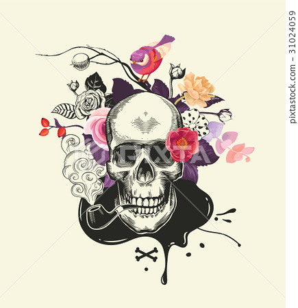 Human skull drawn in etching style with smoking 31024059