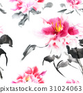Romantic seamless pattern with watercolor peonies 31024063