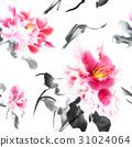 Beautiful seamless pattern with pink peonies 31024064