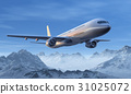 Morning airliner flight over snowy mountain peaks 31025072