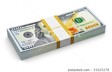 Stack of new 100 US dollar banknotes 31025279
