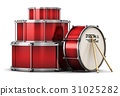 Red drum set with drumsticks 31025282