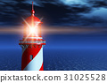 Lighthouse at dark night in ocean 31025528
