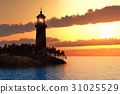 Dramatic sunset with lighthouse on island in sea 31025529