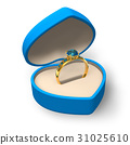 Blue heart-shape box with golden ring with jewels 31025610