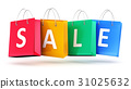 Group of color paper shopping bags with Sale word 31025632