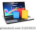 Laptop with group of color paper shopping bags 31025633