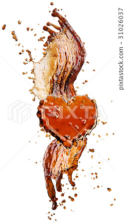 Heart from cola splash with bubbles isolated on 31026037