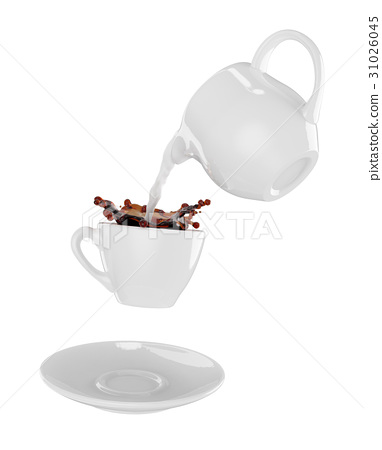 Milk being poured into small cup of coffee 31026045