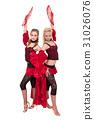 flamenko dancer team dancing isolated on white 31026076