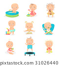 Cute little babies and their daily routine set 31026440