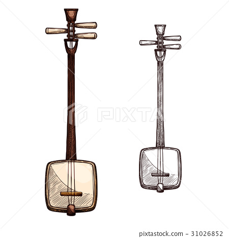 Vector sketch Japanese string music instrument 31026852