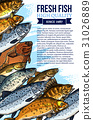 Vector fresh fish catch poster for market 31026889