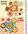 Korean and irish cuisine dinner icon set design 31026997