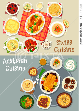 Austrian and swiss cuisine tasty lunch icon set 31027006
