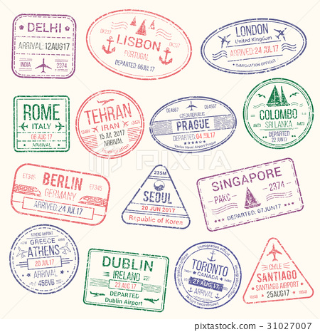 Passport Stamp Travel Visa Sign Icon Set
