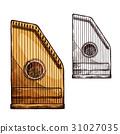 Vector sketch gusli harp string music instrument 31027035