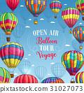 Vector poster for hot air balloon trip tour 31027073