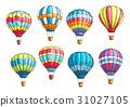 Vector sketch icons set hot air balloons pattern 31027105