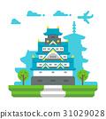 Flat design Osaka castle 31029028