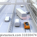 Concept image of avoiding secondary accidents by crash damage mitigation brake on highway accident scene 31030474