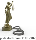 Lady of Justice statue and handcuffs 3d rendering 31035987