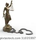 Lady of Justice statue and handcuffs 3d rendering 31035997