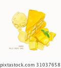 mango mille crepe cake , sketch vector. 31037658