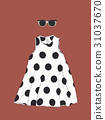 polka dot dress with sun glasses , sketch vector. 31037670