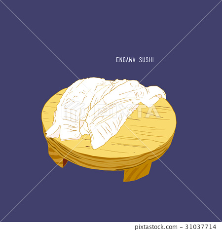 Engawa Sushi Aburi Hirame sushi,sketch vector 31037714