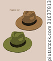 beach hat panama  vector. 31037913
