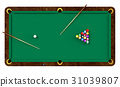 Billiard table with balls and cues 31039807