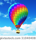 Color rainbow hot air balloon in the blue sky 31040408