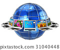 laptop, globe, computer 31040448