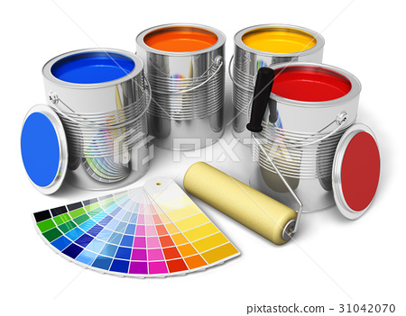 Cans with color paint roller brush and color guide 31042070