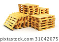 Stacks of wooden shipping pallets 31042075