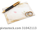 Wedding rings, pen and empty card 31042113