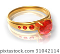 Golden ring with red jewels 31042114