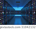 Server room interior in datacenter 31042132