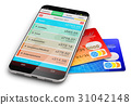 Smartphone financial app and bank credit cards 31042148