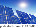 Solar panels, blue sky and sun 31042601