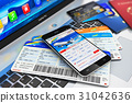 Buying air tickets online via smartphone 31042636