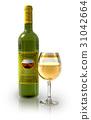 Bottle of white wine and full crystal goblet 31042664