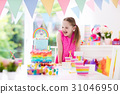 Kids birthday party. Little girl with cake. 31046950