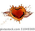 Heart from cola splash with bubbles isolated on 31049369