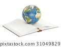 E-learning concept, opened book with Earth globe 31049829