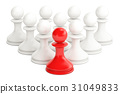 leader concept from chess pawns, 3D rendering 31049833