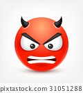 Smiley,angry,sad,devil emoticon. Redface with 31051288