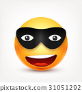 Smiley,smiling emoticon with mask. Yellow face 31051292