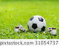 football on green grass and stud shoe. 31054737
